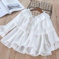 Everweekend Girls White Lace Chiffon Ruffles Tees Shirts Sweet Princess Spring Autumn Cute Tops Western Sweet