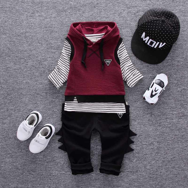New Spring Autumn Children Girls Boys Suits Infant/Newborn Clothes Sets Kids Vest+T Shirt+Pants 3 Pcs/Sets Children Suits