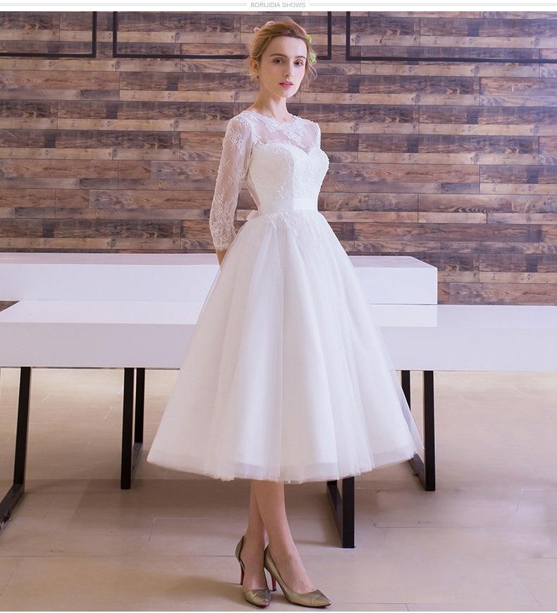 Vintage Three Quarter Length Wedding Dresses: Vestido De Festa New Wedding Dress Tea Length Three