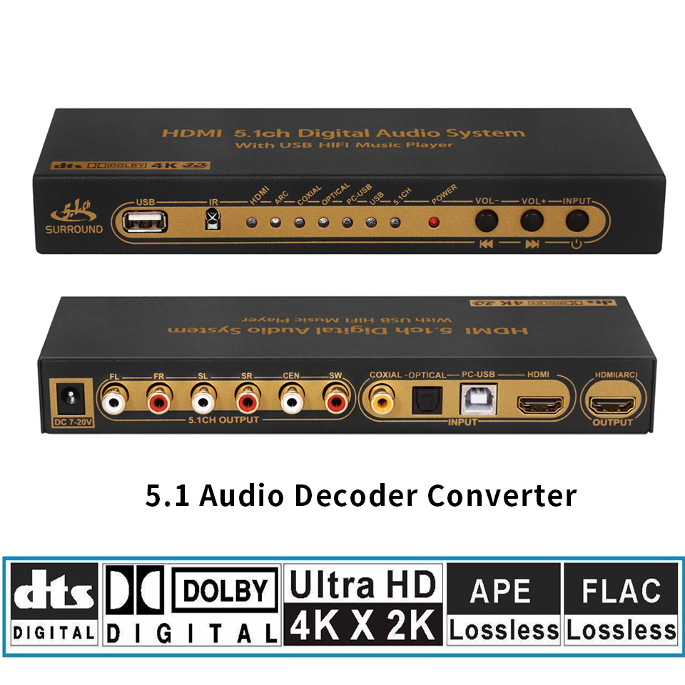 HD815B HDMI 5.1 Audio Converter Decoder DAC DTS AC3 FLAC APE 4K*2K HDMI to HDMI Extractor Converter Splitter Digital SPDIF ARC