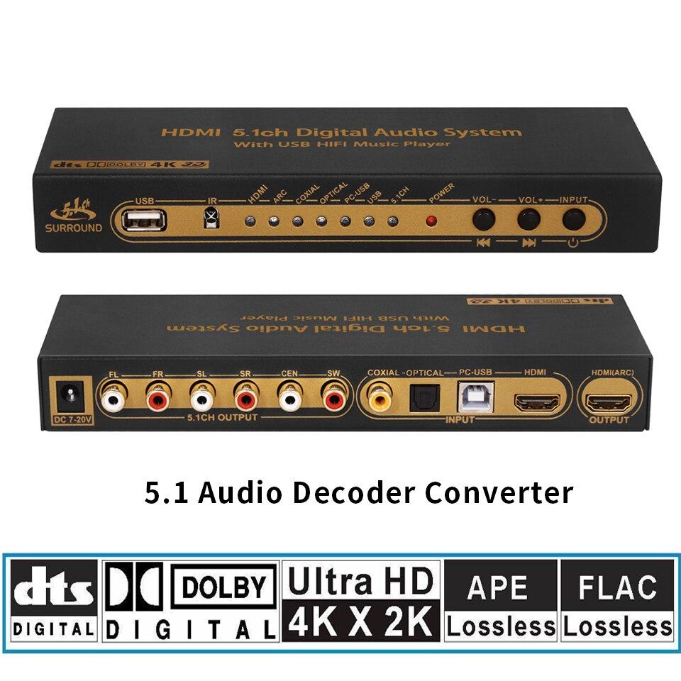 HD815B HDMI DTS AC3 FLAC APE 5.1 Audio Decoder Converter DAC 4K*2K HDMI to HDMI Extractor Converter Splitter Digital SPDIF ARC zy dts8hd 7 1 channel decode board dts ac3 3d hdmi 1 4 dts decoders