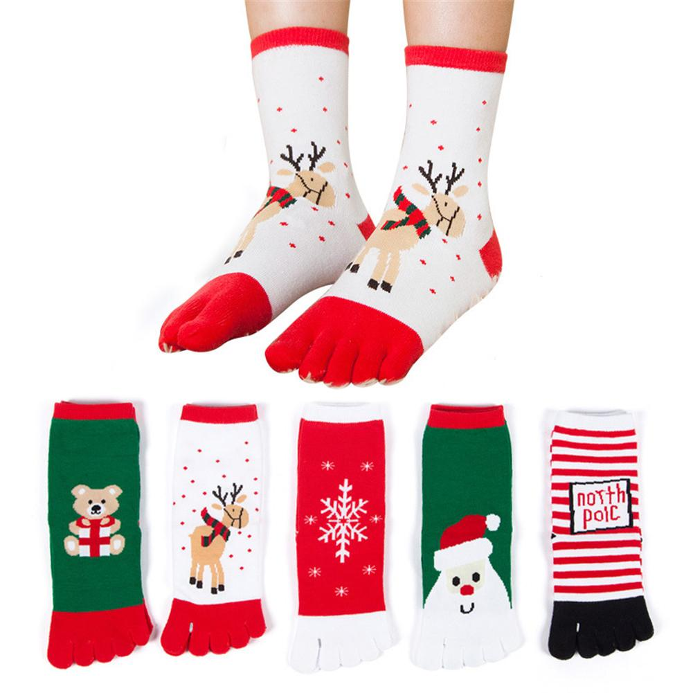 5 Pairs Of Christmas Socks Cute In The Tube Five Fingers Socks Female Elk Bear Snowman Christmas Socks Christmas Gifts For Women