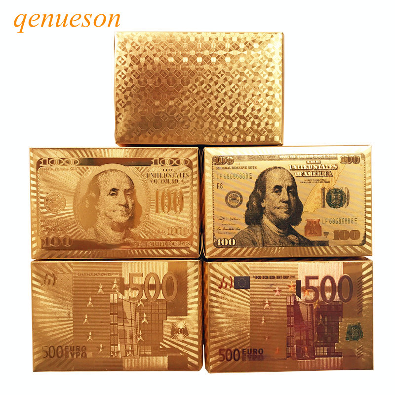 New 10Sets/Lot Gold Foil Plated Texas Holdem Plastic Playing Cards Waterproof Poker Cards Board Game 58*88mm Wholesale qenueson