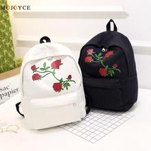 2017 Embroidery Rose Women Backpacks Fashion Canvas Lady Backpacks High Quality Girls Satchel Travel School Bag Mochila