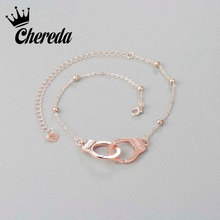 Chereda Anklets Handcuffs Rose Silver Color Alloy Bracelet Foot Fine Jewelry For Women Lock Shape Valentine's Day Accessories все цены