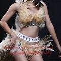 Hecho a mano atractivo crystal rhinestone celebrity desgaste del funcionamiento conjunto de dos piezas de desgaste de la danza mujeres cantante stage traje de plumas