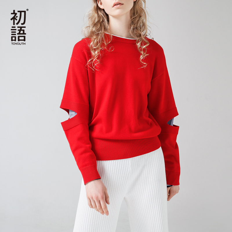 Toyouth Fake Two Pieces Hollow Out Patchwork Knitted Pullovers Spring Round Neck Long Sleeve Sweater Jumper Femme S-XL Sueter