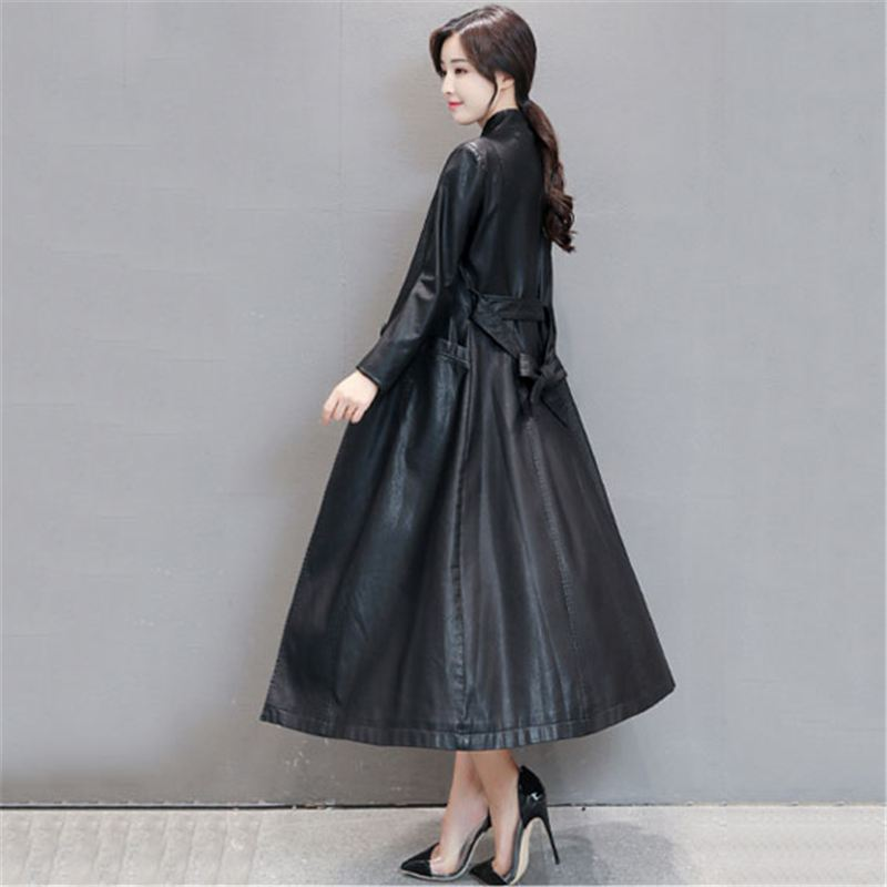 2018 Autumn Winter Fashion X-Long Women's Clothing   Leather   Coats Female Slim Warm Sashes Plus Size 5XL Outerwear Trench Coats X9