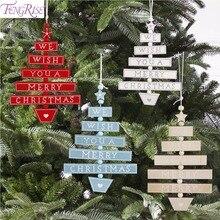 цена FENGRIS Christmas Wooden Pendants Merry Christmas Decoration for Home 2019 Christmas Tree Decoration Ornaments Navidad Xmas Tree в интернет-магазинах