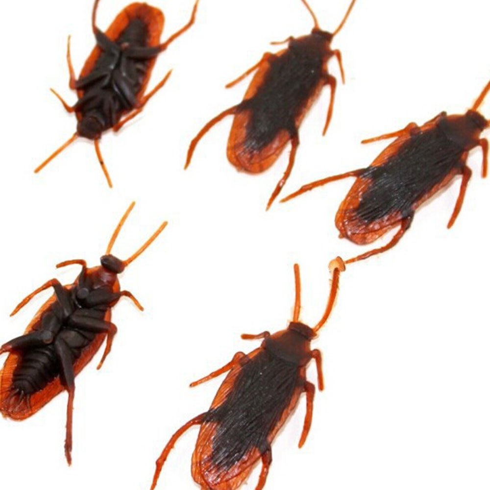 12Pcs Brown Cockroach Trick Toy Party Halloween Haunted House Decor Prank