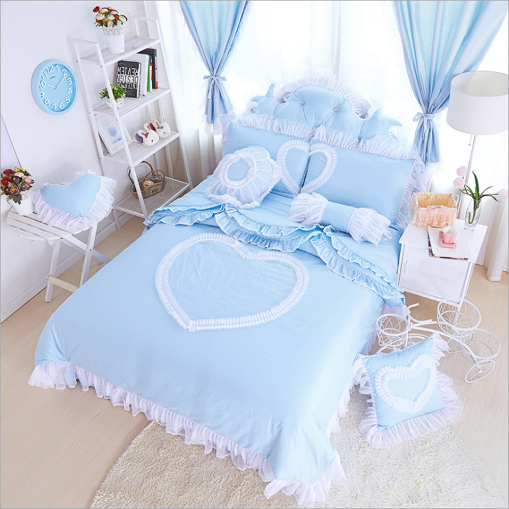 Girls purple bedding - 100 Cotton Korean Princess Style Heart Shaped Pattern Duvet Cover Bed Sheet Set Pink