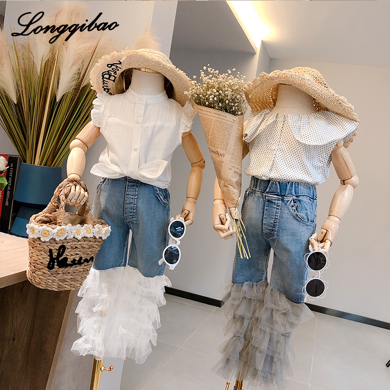 Baby girl ruffle pants 2019 new spring and summer girls personality denim stitching white lace trousers female baby jeans summerBaby girl ruffle pants 2019 new spring and summer girls personality denim stitching white lace trousers female baby jeans summer