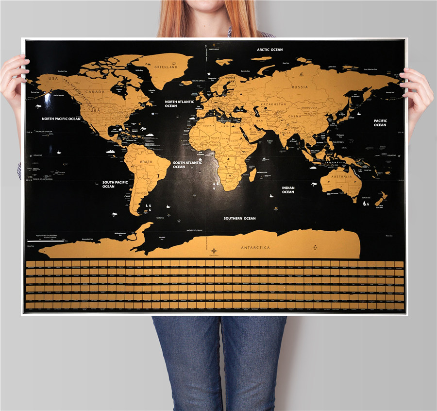 Deluxe World map Vintage posters Travel <font><b>wall</b></font> <font><b>sticker</b></font> <font><b>retro</b></font> paint bar cafe print picture Scratch off world maps drop shipping image