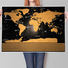 Deluxe World map Vintage posters Travel wall sticker retro paint bar c
