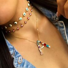 2020 fashion 26 Initial customize letter name charm jewelry women colorful cz paved letter Alphabet drop necklace