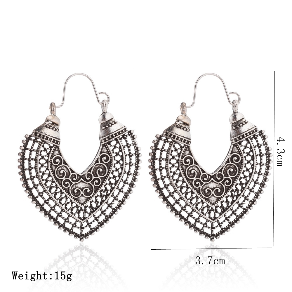 Boho Vintage Earring For Women New Hollow Out Heart shaped Gypsy Ethnic  Style Drop Earring Indian Jewelry Pendientes -in Drop Earrings from Jewelry  ... def69588560d