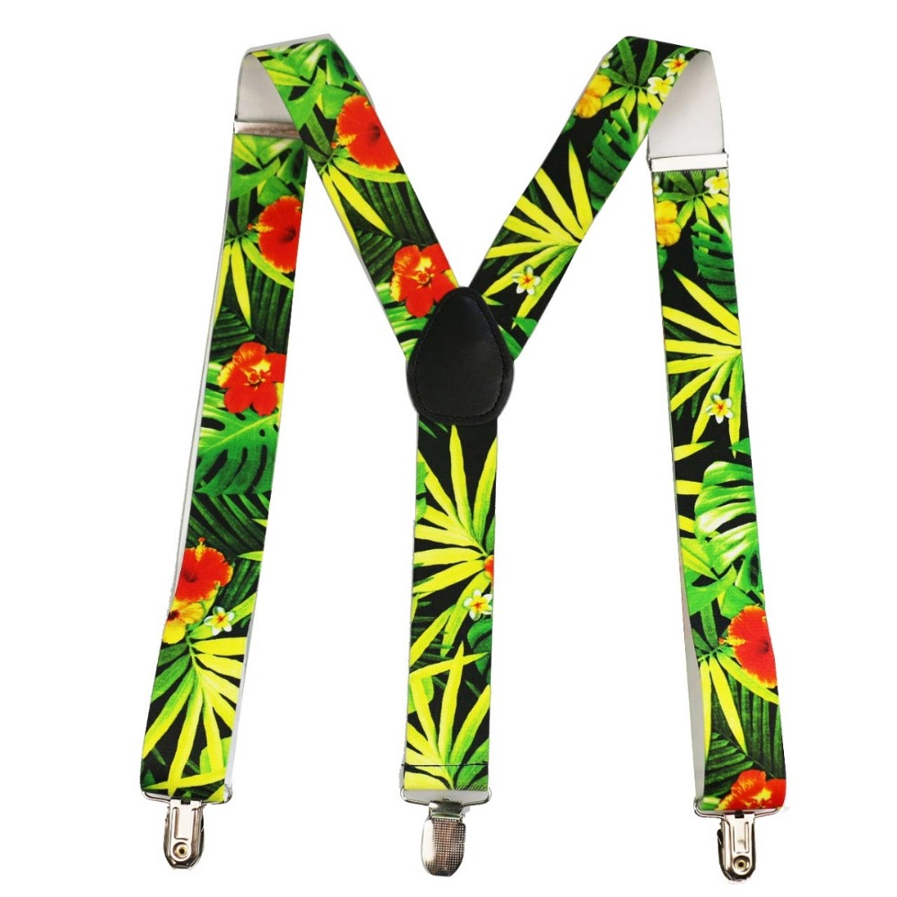 FOXMOTHER New Summer Unisex 3.5cm Wide Y-Shape Clip-on Green Tropical Leaves Floral Suspensorio Suspender Mens Womens