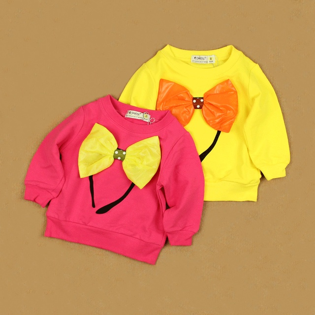 Three-dimensional bow hair bands 2013 spring sweatshirt infant children's clothing modal cotton long-sleeve T-shirt 4