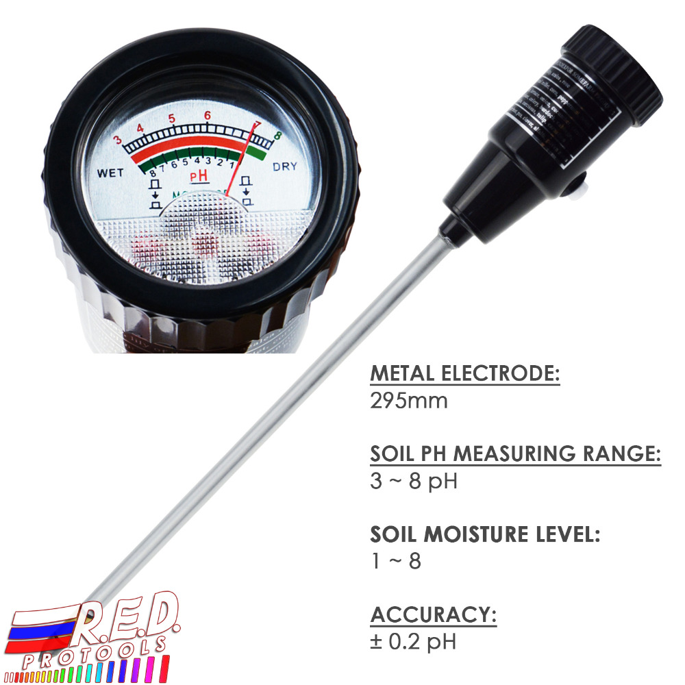 Soil pH & Moisture Tester Meter with 295mm Long Electrode Probe, Waterproof Soil Tester Kit Tools, for Indoor & Outdoor брелок taya цвет серебристый синий t b 13284