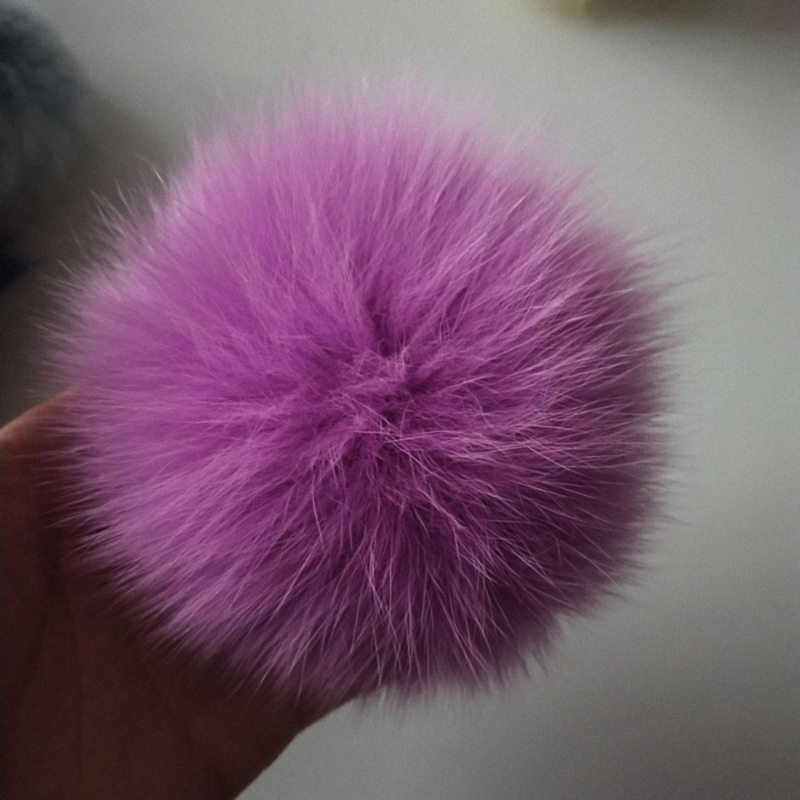 11cm Nature Genuine Fox Fur Ball Pom Pom Fluffy DIY Winter Hat   Skullies     Beanies   Knitted Cap Pompoms TKF009-pink