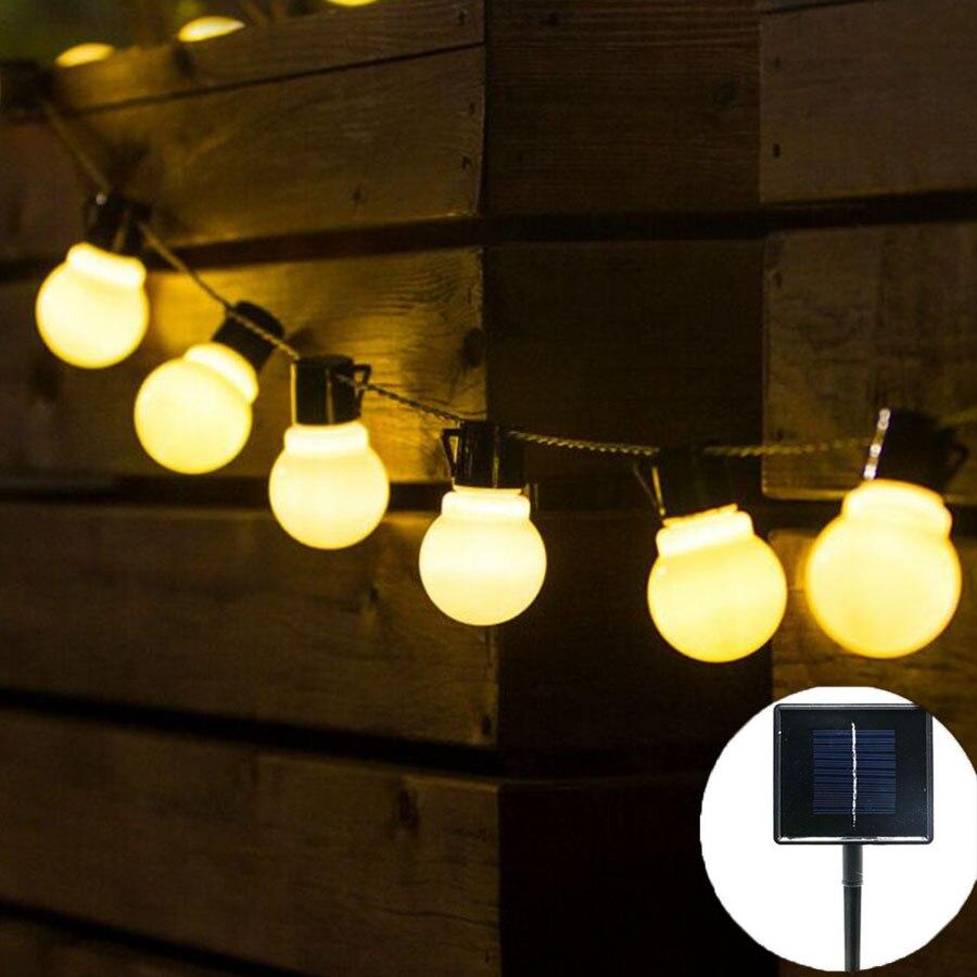 Thrisdar 6.5M 30 LED G50 Solar Globe LED String Fairy Light Garland Outdoor Globe Festoon Bulb Party Garden Wedding Fairy String