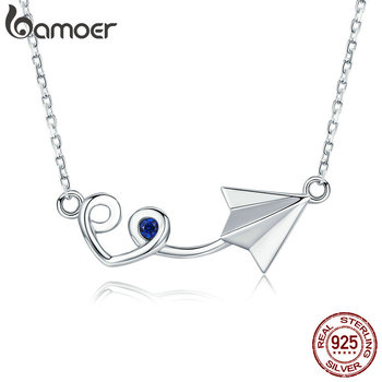 BAMOER New Arrival Genuine 925 Sterling Silver Paper Plane with Heart Pendant Necklace for Women Sterling Silver Jewelry SCN218