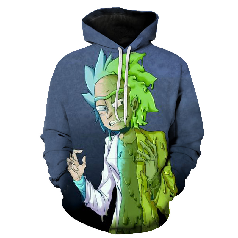 2019 New Custom 3D Sweatshirts Hip Hop Men/Women Hat Funny Print Rick Morty Crazy Scientist Winter Loose Thin Hooded Hoody Tops