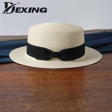 wholesale sun flat straw hat boater hat girls bow summer Hats For Women Beach flat panama straw hat chapeau femme(China)