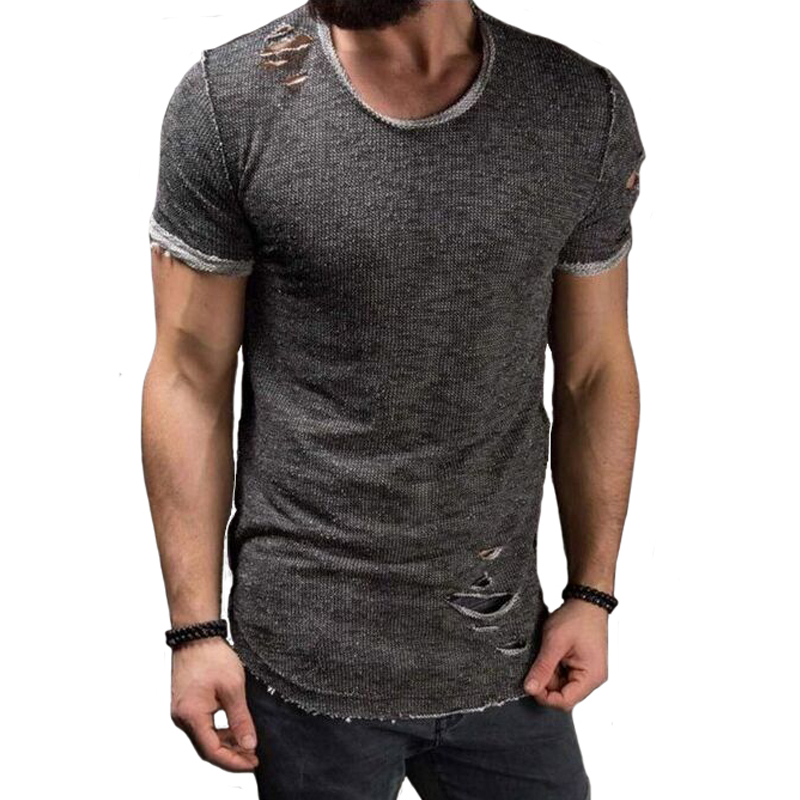 LeeLion 2020 Summer Cotton T Shirt Men Fashion Hole Short Sleeve T-shirt Solid Slim Fit O Neck Tops Casual Tshirt DropShipping