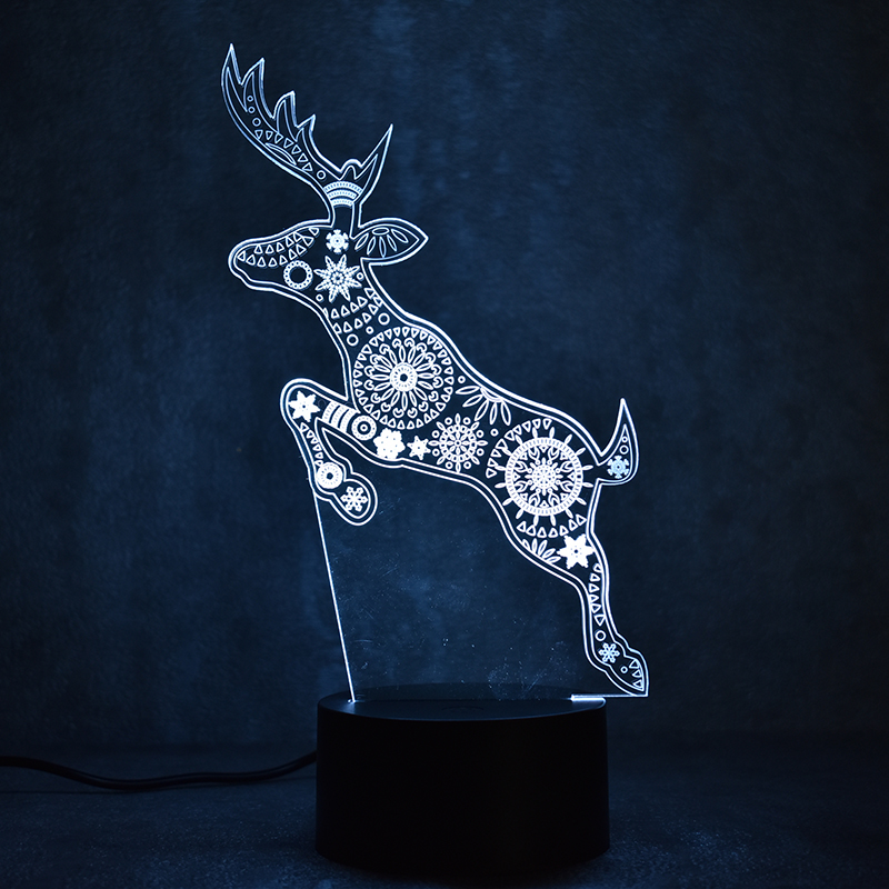 Colorful Light Fixture 3D LED Visual USB Creative Reindeer Table Lamp Mood Sleeping Night Lights Christmas Deer Lamp Kids Gifts replacement projector lamp bulb 5j 07e01 001 for benq mp771