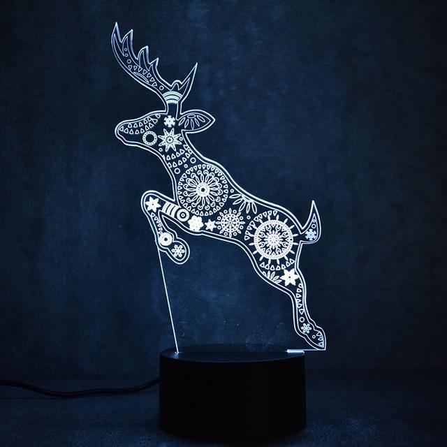 colorful light fixture 3d led visual usb creative reindeer table lamp mood sleeping night lights christmas
