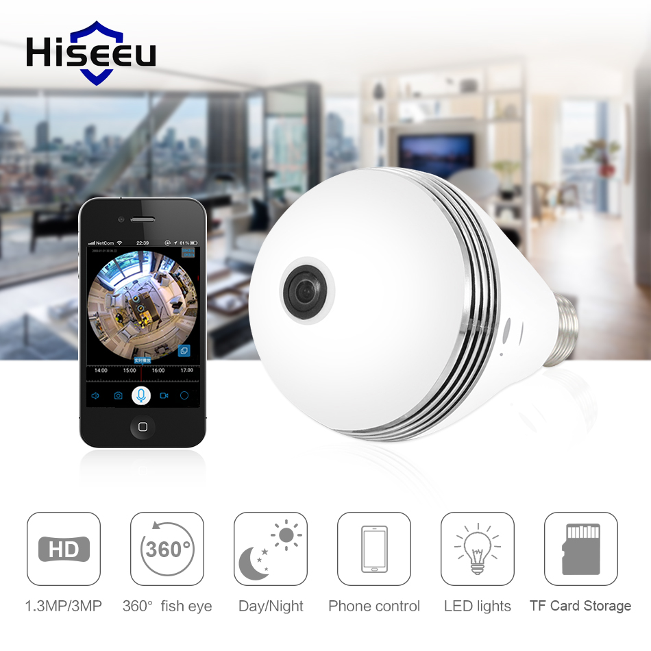Hiseeu HD 1.3MP/3MP lamp bulb light Wireless IP Camera 360 degree FishEye CCTV 3D VR Camera Home Security WiFi Camera Panoramic цена