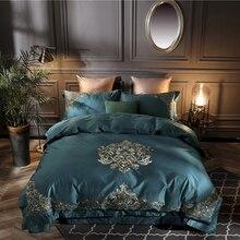 100 S, роскошные королевские постельные принадлежности из египетского хлопка, набор из 4 предметов, покрывало для кровати King queen, вышитая простыня на кровать, набор пододеяльников