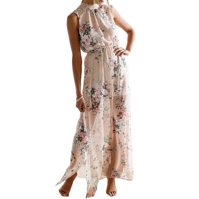 bc6299c94f1f0 Summer Boho Dress 2019 New Fashion Floral Printed Maxi Long Dress Women  Sexy Split Halter Beach Dresses Party Plus Size GV477