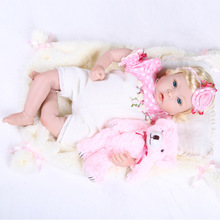 22 inch 55 cm Silicone reborn baby dolls toys Children Beautiful blonde girl pink pink flowe
