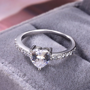 100% copper / heart shaped zircon ring wedding ring wedding engagement bride simple crystal ring gift(China)