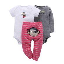 Recém-nascidos Para Bebes Bebê Menino Menina Conjunto de Roupas De Algodão de Manga Longa O-pescoço 3 pcs Bebê Meninas Novo Estilo 2018 Crianças roupas