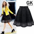 Europa 2016 verano nueva gasa faldas de Organza de tul Midi blanco negro encaje plisado de la falda mujer cortas tamaño S-XL