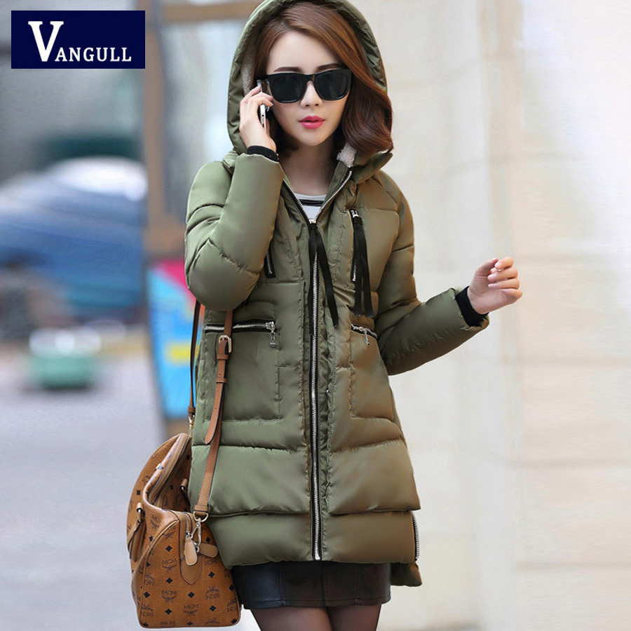 ФОТО 2016 New Fashion Large Size Women Winter Long Section Down Padded Cotton Casual Military Fashion Casual  Jacket and Cotton Coat