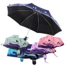 High Quality 190T Cat and Flower Three-folding Automatic Umbrella Rain/sun Women,black Coating Plegable Windproof Paraguas Mujer