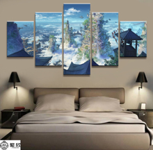 Hot Sales Without Frame 5 Panels Picture Villages in the Clouds Cartoon Poster Artwork Wall Art Canvas Painting Wholesale