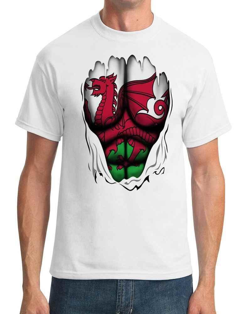 ウェールズウェルシュ · ドラゴン-Flag-スーパーヒーローリッピング効果メンズ Tシャツ