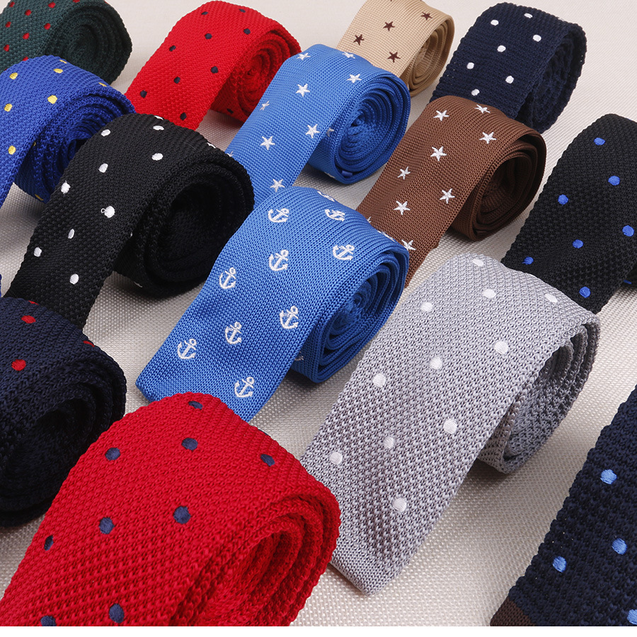 HOT Knitted Embroidered Tie  Narrow Skinnynecktie 5 Cm Flat Head Anchor Star Tie Men Accessories Neckties Wedding Party Banquet