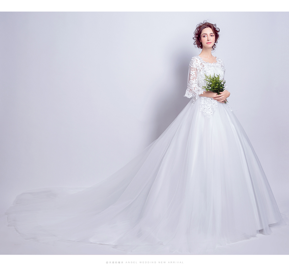 Angel Wedding Dress Marriage Bride Bridal Gown Vestido De Noiva 2017 Boat Neck horn sleeve, big tail 6910 10