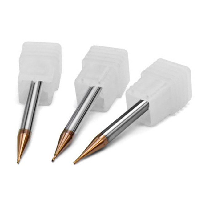 5pcs/set 55HRC 60HRC 0.2/0.4/0.5/0.6/0.8/0.9mm 2 Flute CNC end mill Extended Reach TiCN Coated Solid Carbide End Mill Tools
