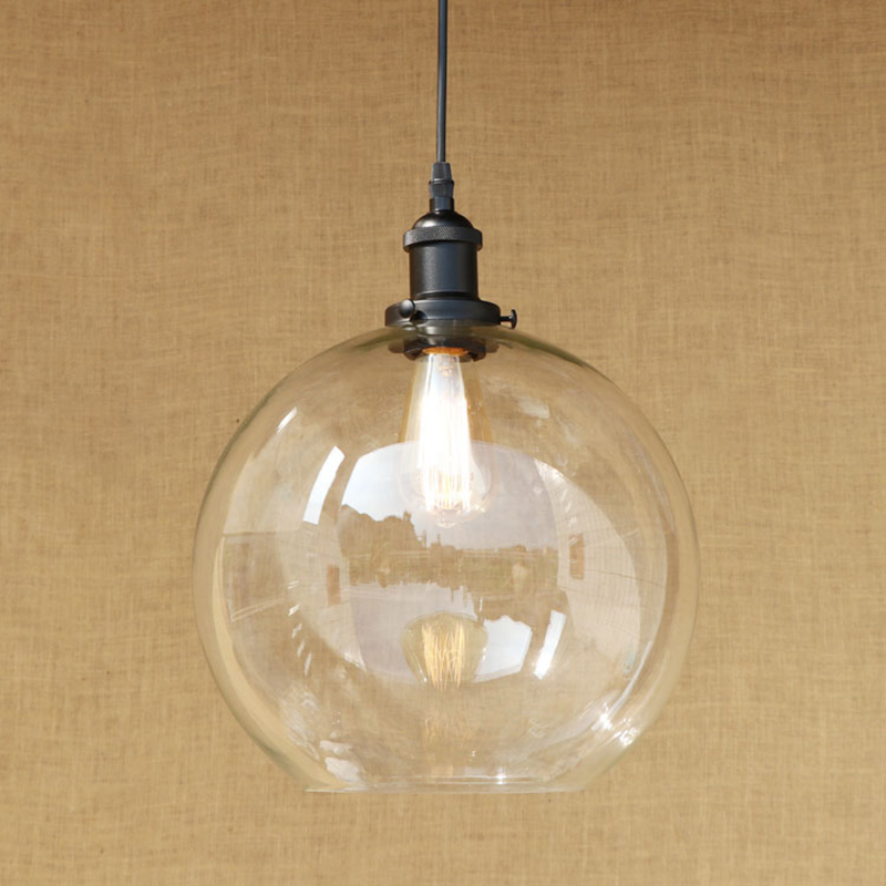 Modern 3 sizes Spherical glass shade pendant lamp LED Edison bulb Pendant Light Fixture For Kitchen /dining room/bar E27 220V modern semi circular glass shade pendant lamp led edison bulb pendant light fixture for kitchen lights dining room bar e27 220v