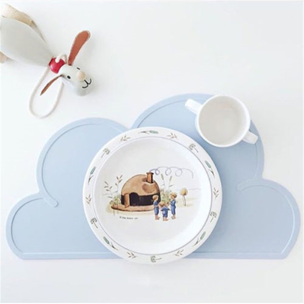 Kids Cloud shape Silicone Insulation Kitchen Placemats Cute Placemat Pad Dining Table Mats Washable Portable Place Mat