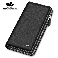 BISON DENIM luxury genuine leather men wallets long zipper clutch purse business casual male credit card holder phone wallet