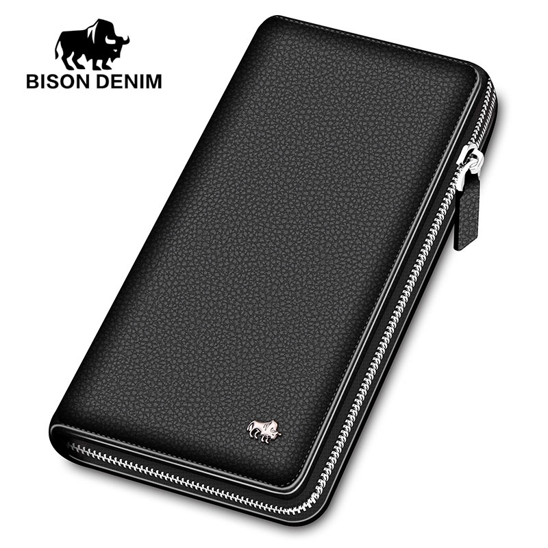 BISON DENIM luxury genuine leather men wallets long zipper clutch purse business casual male credit card holder phone wallet худи print bar 50 cent