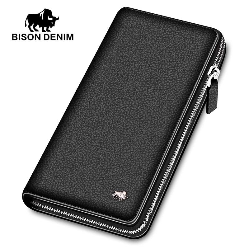 BISON DENIM Luxury Genuine Leather Men Wallets Long Zipper Clutch Purse Business Casual Male Credit Card Holder Phone Wallet
